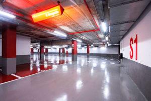 Pintar parking del Hotel Porta Fira con resinas antipolvo